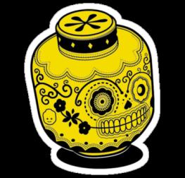 наклейка лего череп мексика