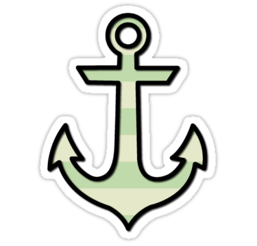 1644 Naval Anchor and Stripes - Black, Green