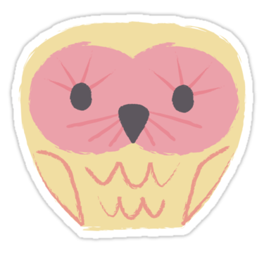 1682 Pink & Lemon Cute Owl