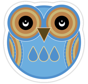1868 Blue Owl Sticker