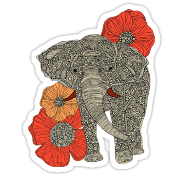 1918 Ethnic Elephant Flowers