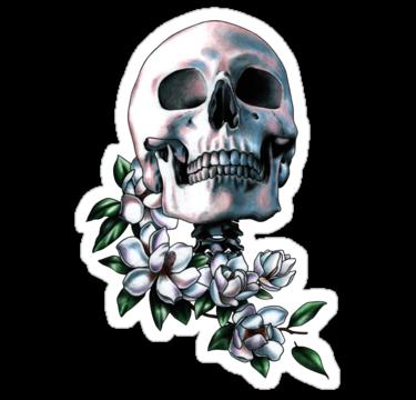 2049 Skull & Magnolia Flowers