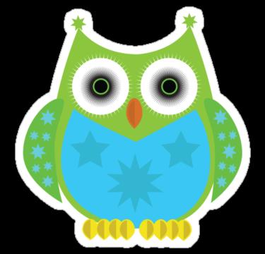 2059 Star Owl - Green Blue 2