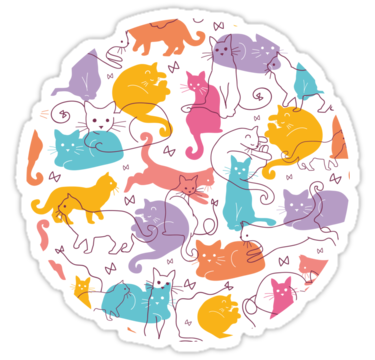 2137 Colorful cats silhouettes