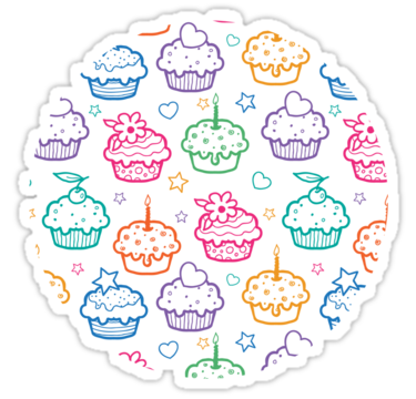 2138 Colorful doodle cupcakes