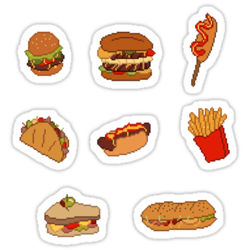 2338 Pixel Junk Food Stickers