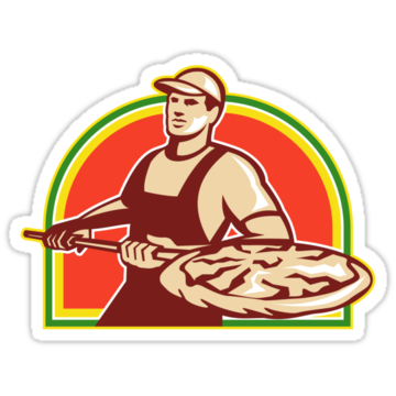 2403 Baker Holding Peel With Pizza Pie Retro