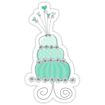 2532 Sweet Mint Whimsical Wedding Cake