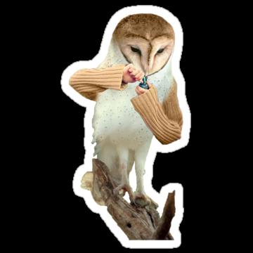 3075 A Barn Owl Smoking a Bowl