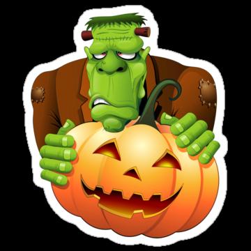 5186 Frankenstein Monster Cartoon with Pumpkin