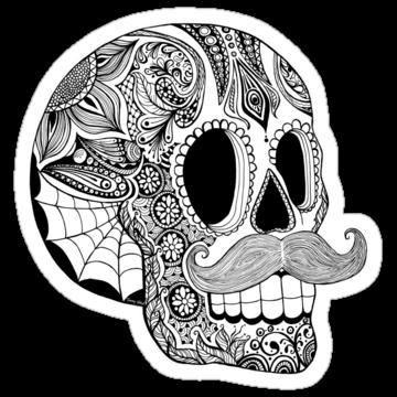 5219 Mustache Sugar Skull