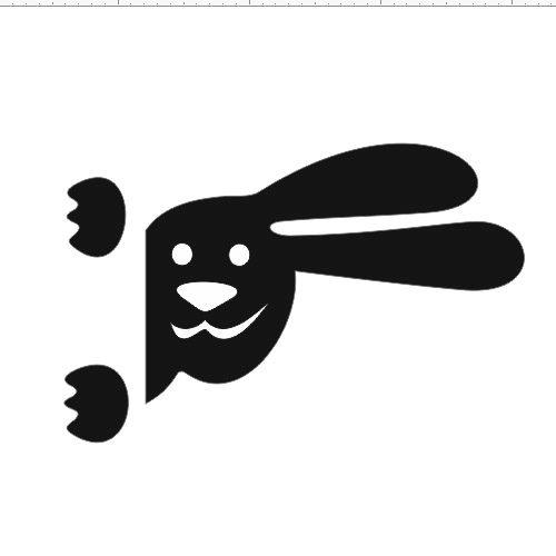 Заяц 2 черный 17x11